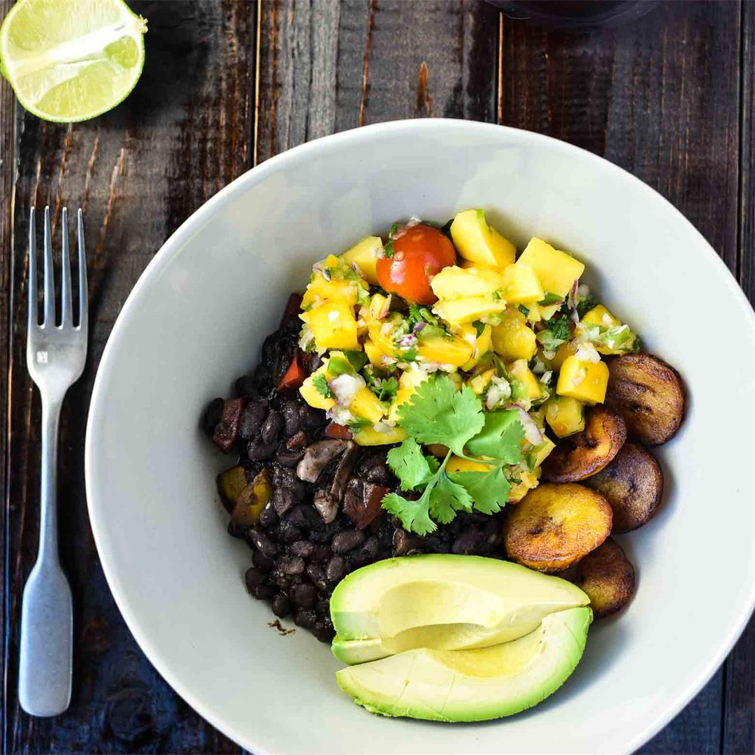 Black Bean Bowl with Mango Salsa and Fried Plaintains