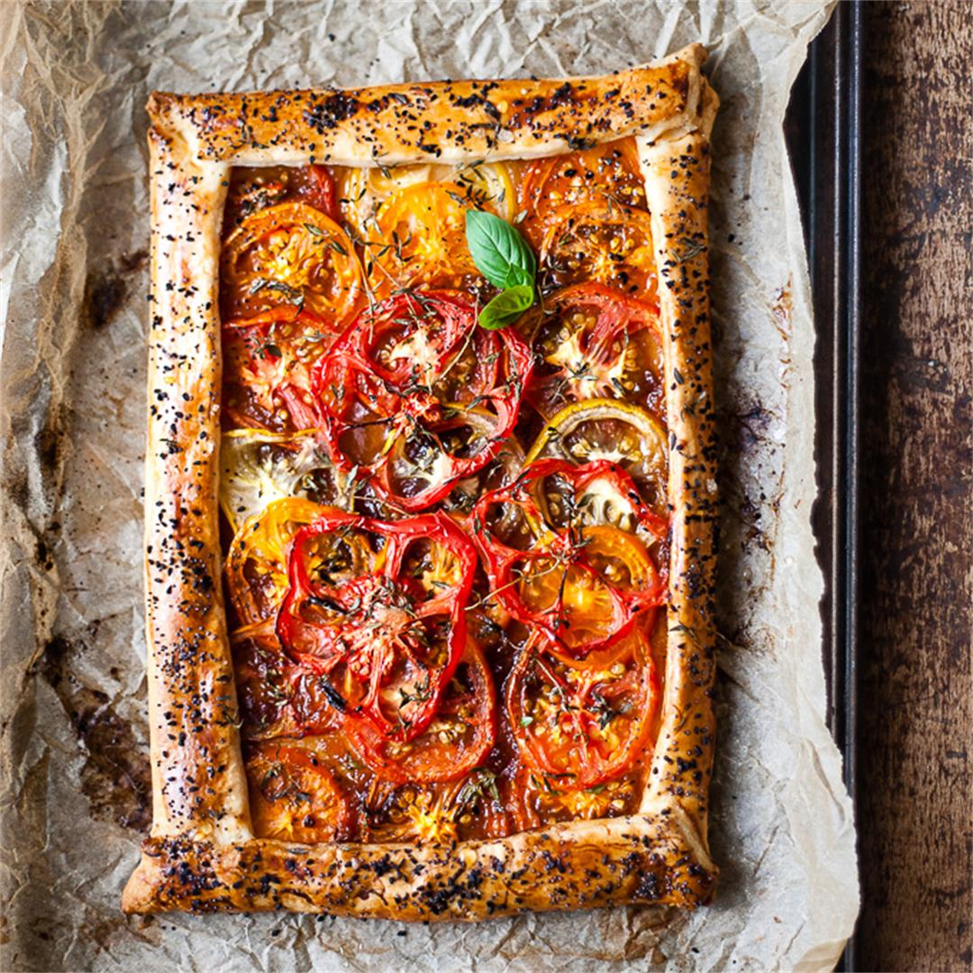 Roasted Tomato Tart with Onion Puff Pastry