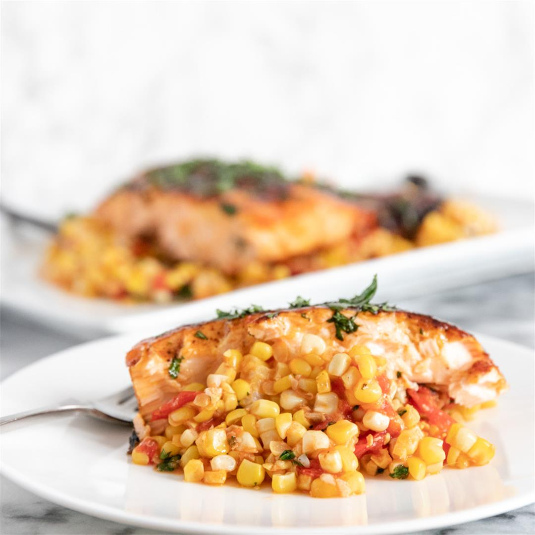 Grilled Glazed Salmon with Tomato Corn Saute