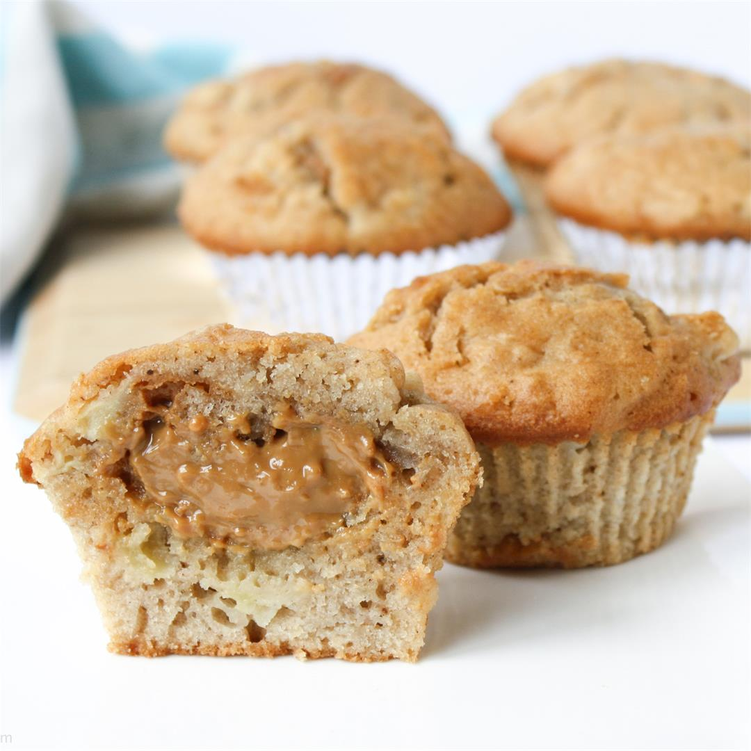 Apple pie muffins with salted caramel centre