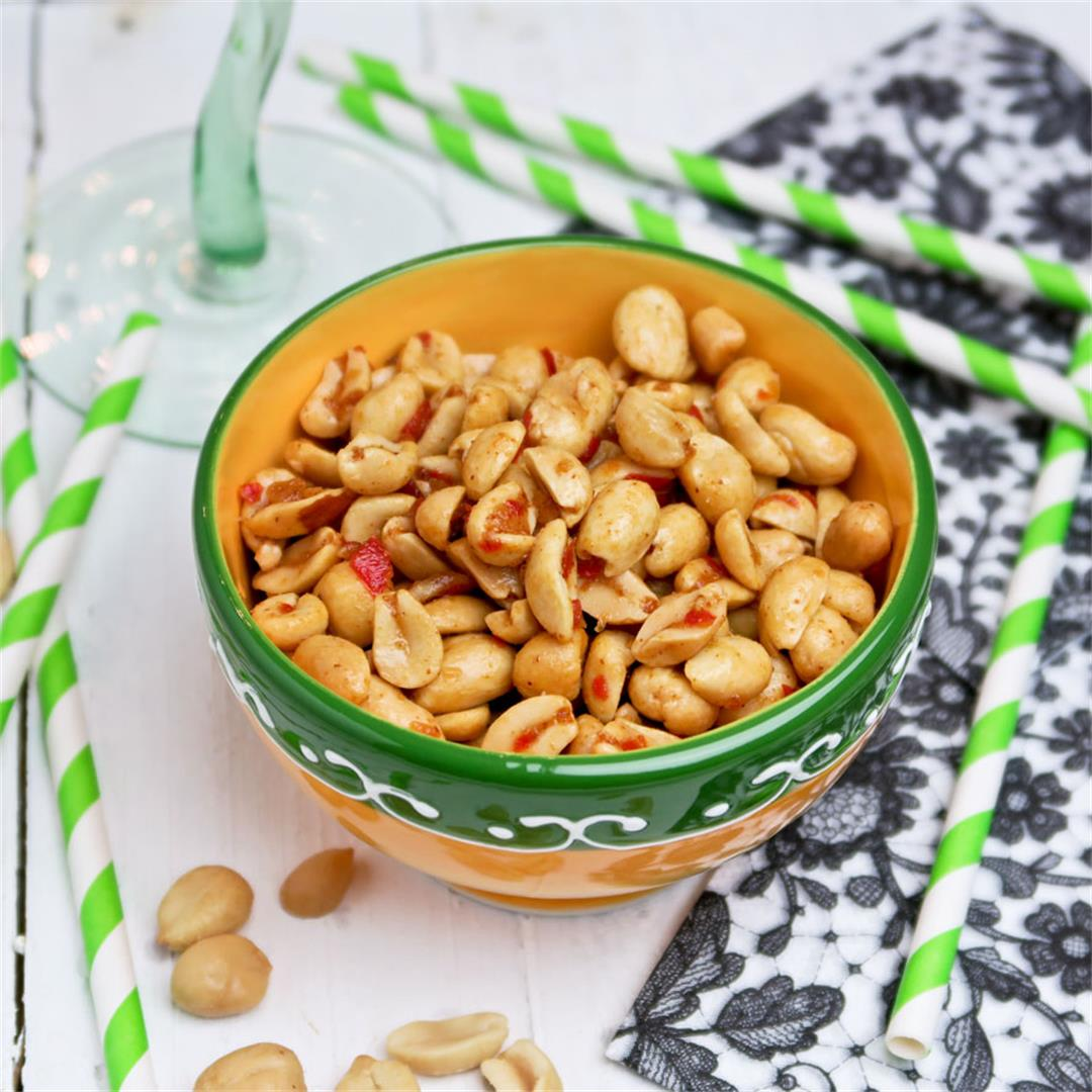 Mexican style peanuts with garlic, chili pepper and cumin