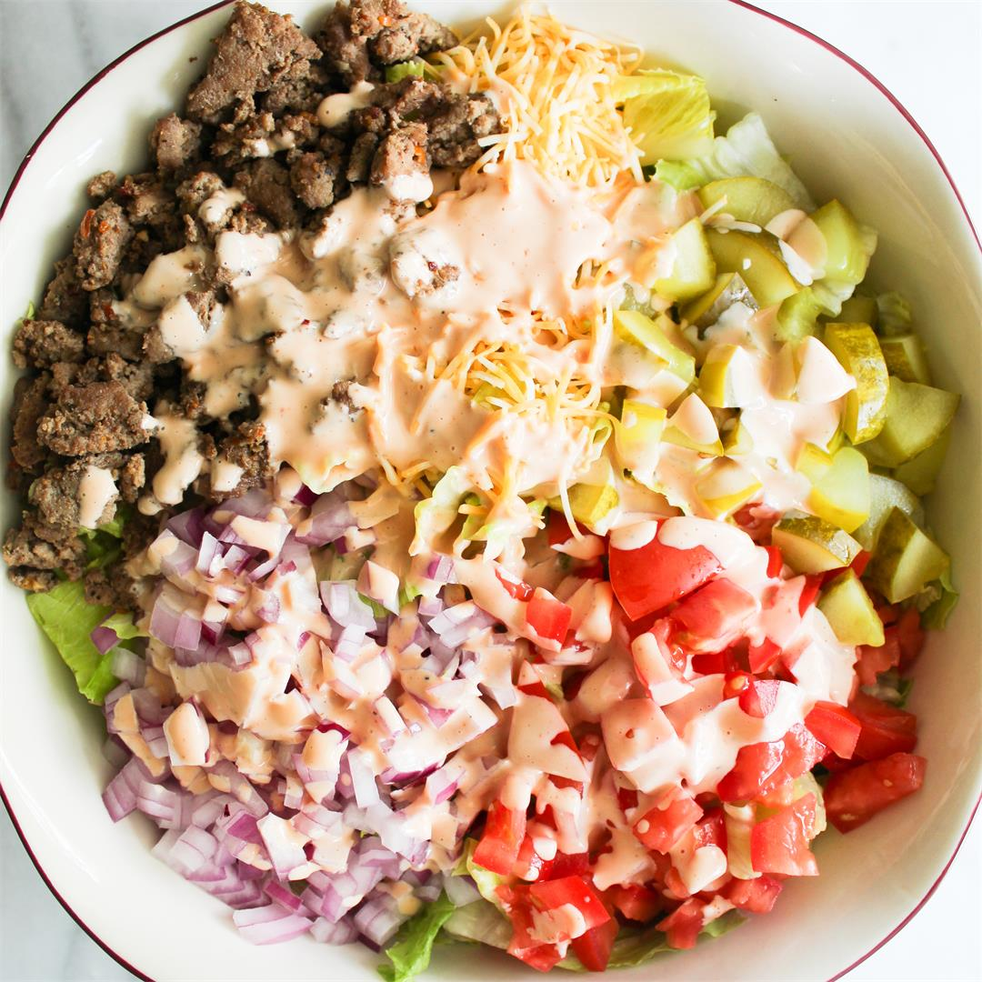 Chopped Turkey Burger Salad with Thousand Island Dressing!