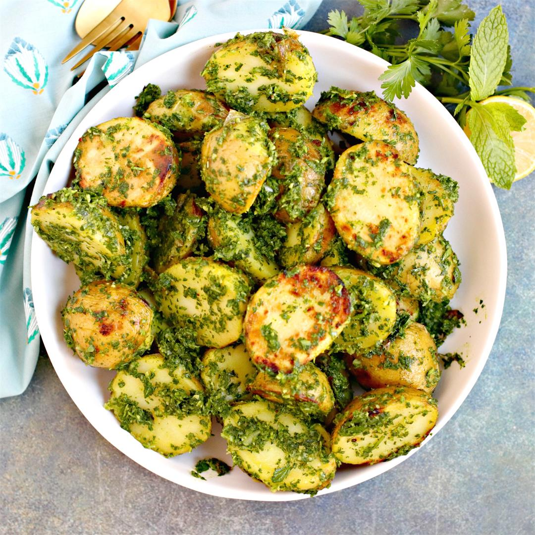 Grilled Potatoes with Lemon Herb Sauce