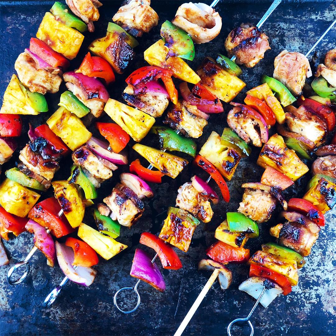 Hawaiian Chicken Bacon Pineapple Skewers