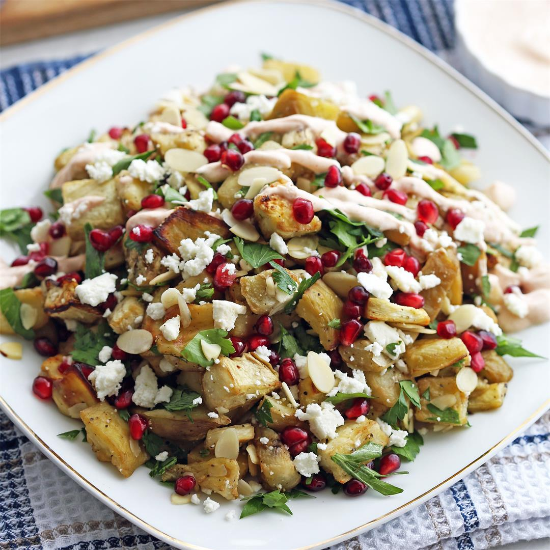 Roasted Eggplant Pomegranate Feta Salad