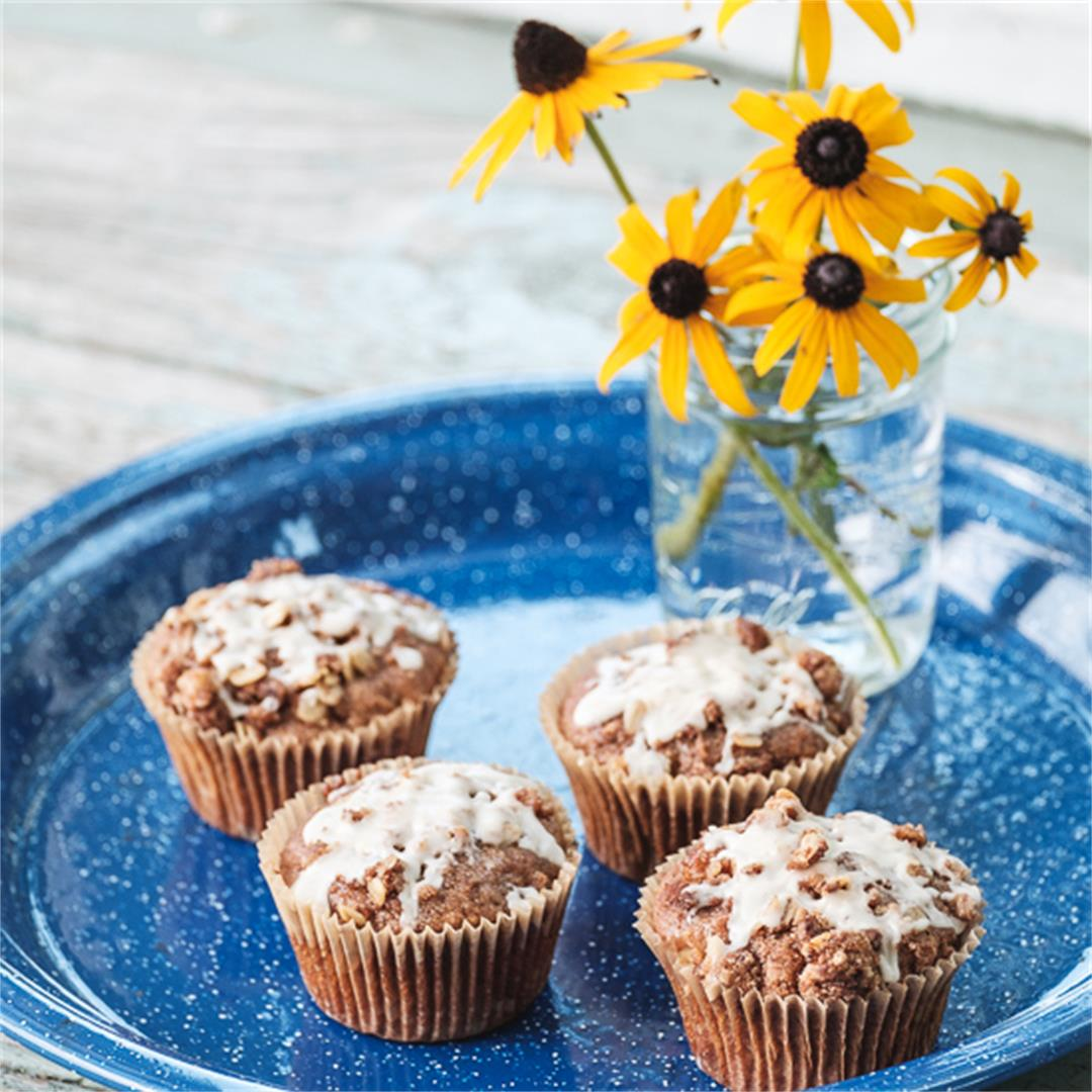Apple Streusel Muffins with Maple Glaze