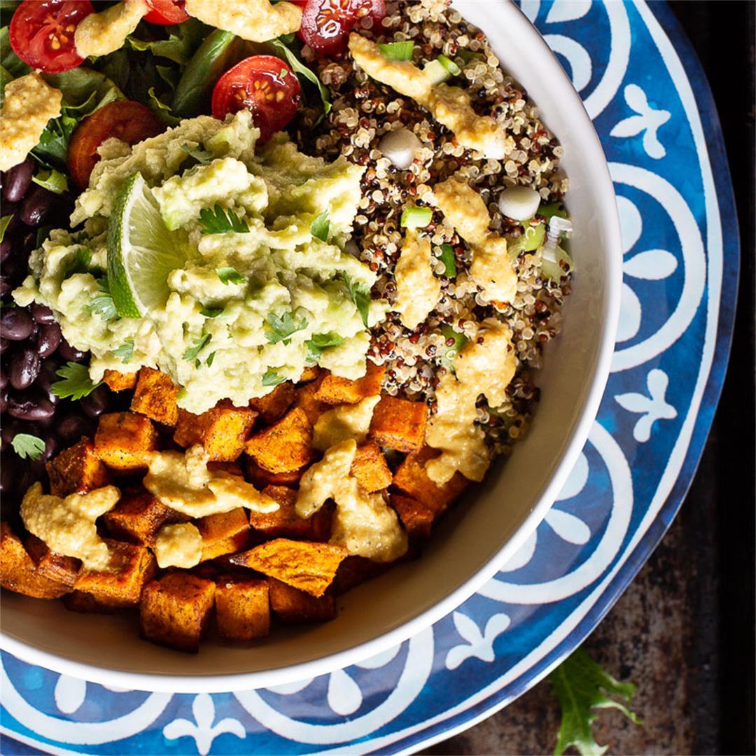 Cuban Quinoa Bowl with Sazon Cashew Dressing