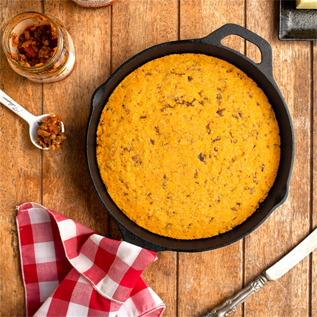 Spicy, Savory Mexi-Cornbread Made with Mushrooms