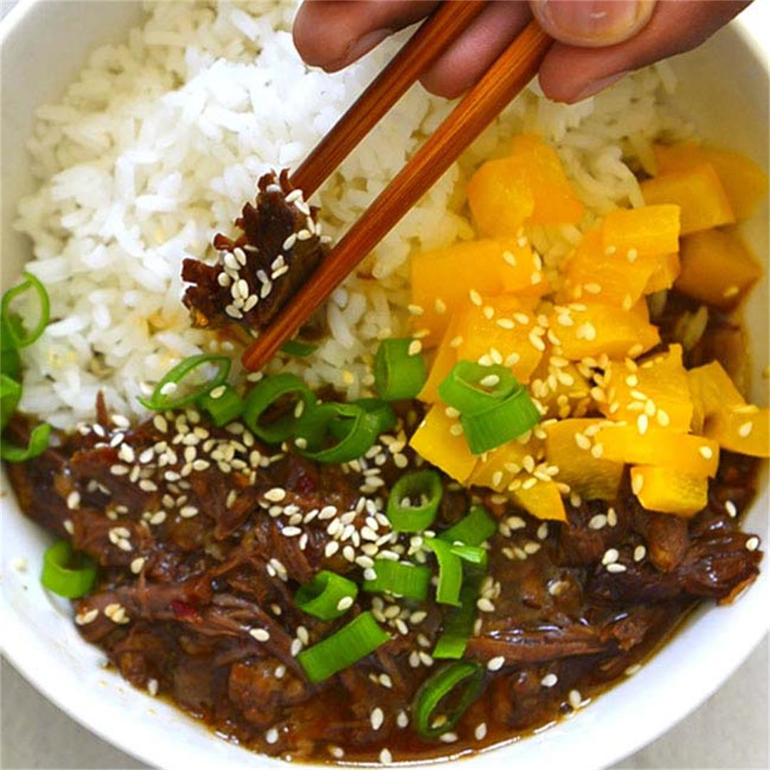 Instant Pot Korean Inspired Shredded Beef Bowl