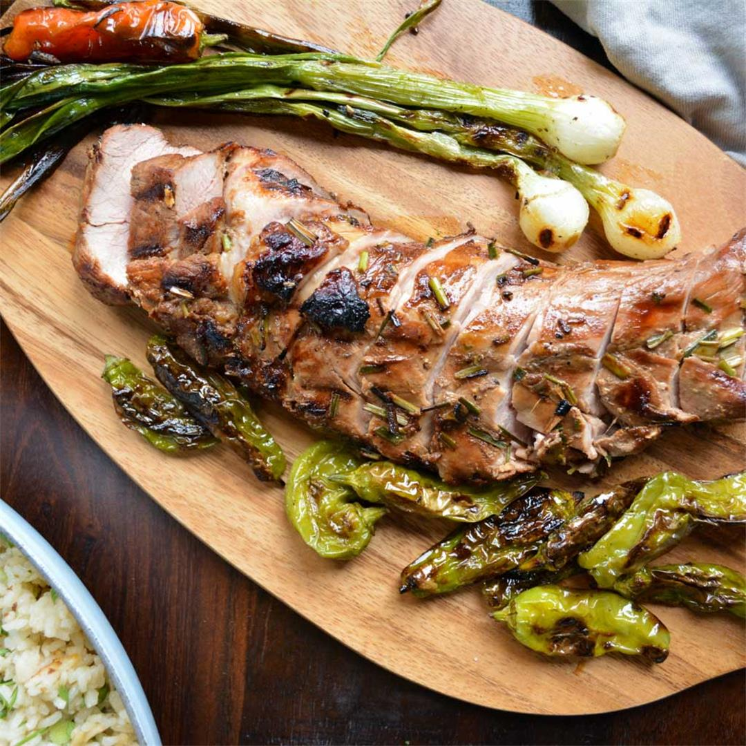 Grilled Pork Tenderloin with Honey Sesame Glaze