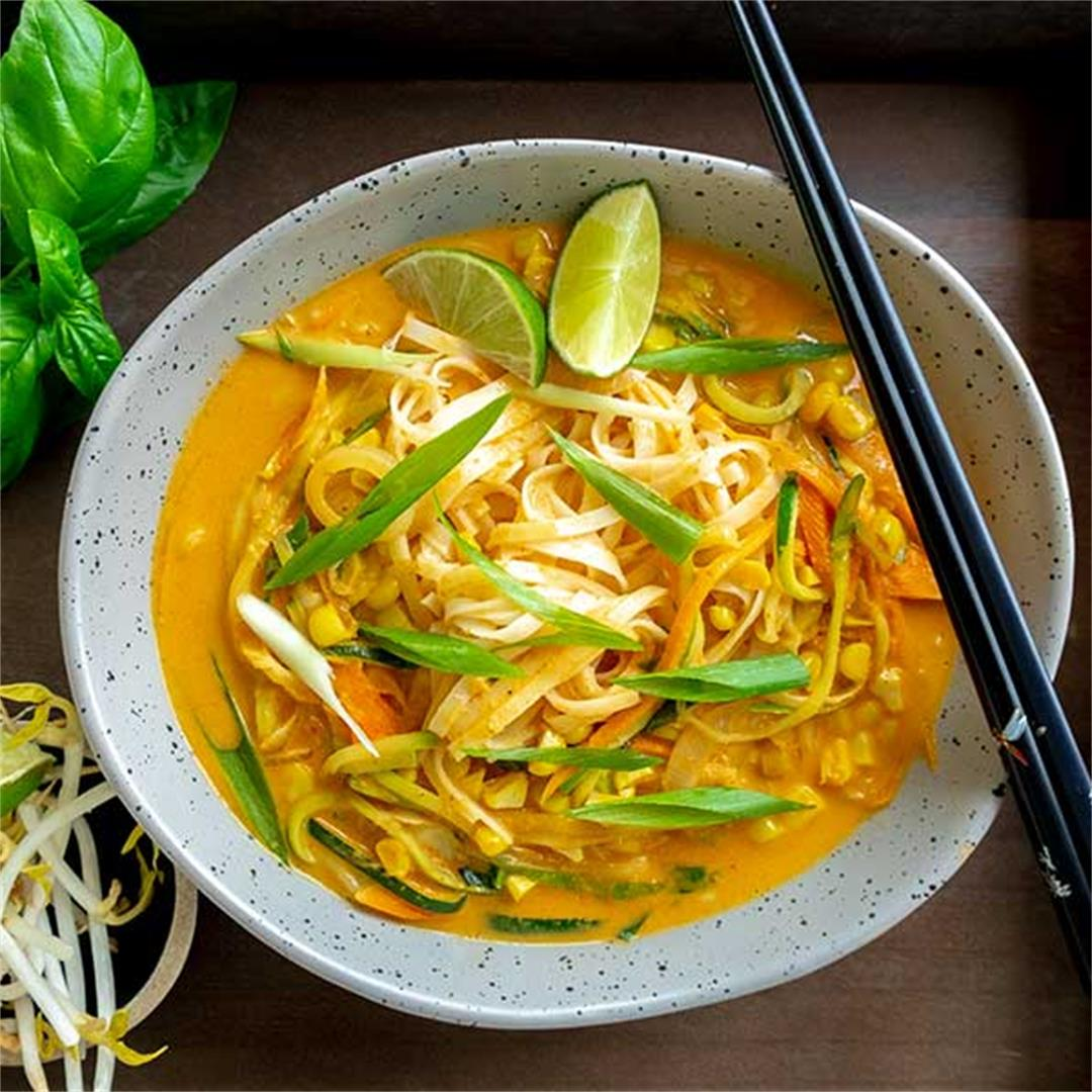 Coconut Curry Noodles With Fresh Vegetables -Vegan, Gluten-Free