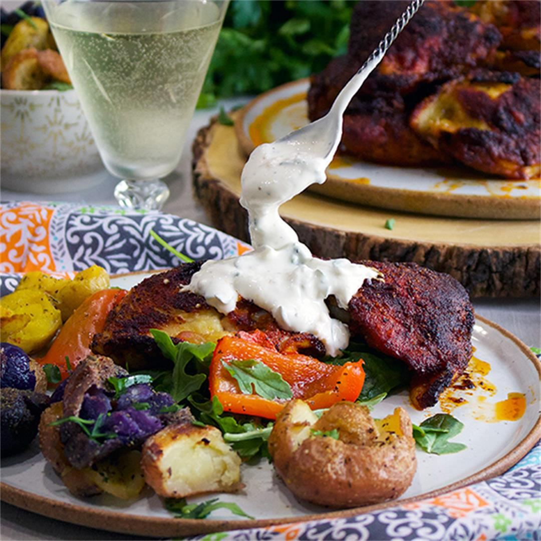 Roasted Paprika Chicken with Bell Peppers & Herbed Yogurt Sauce