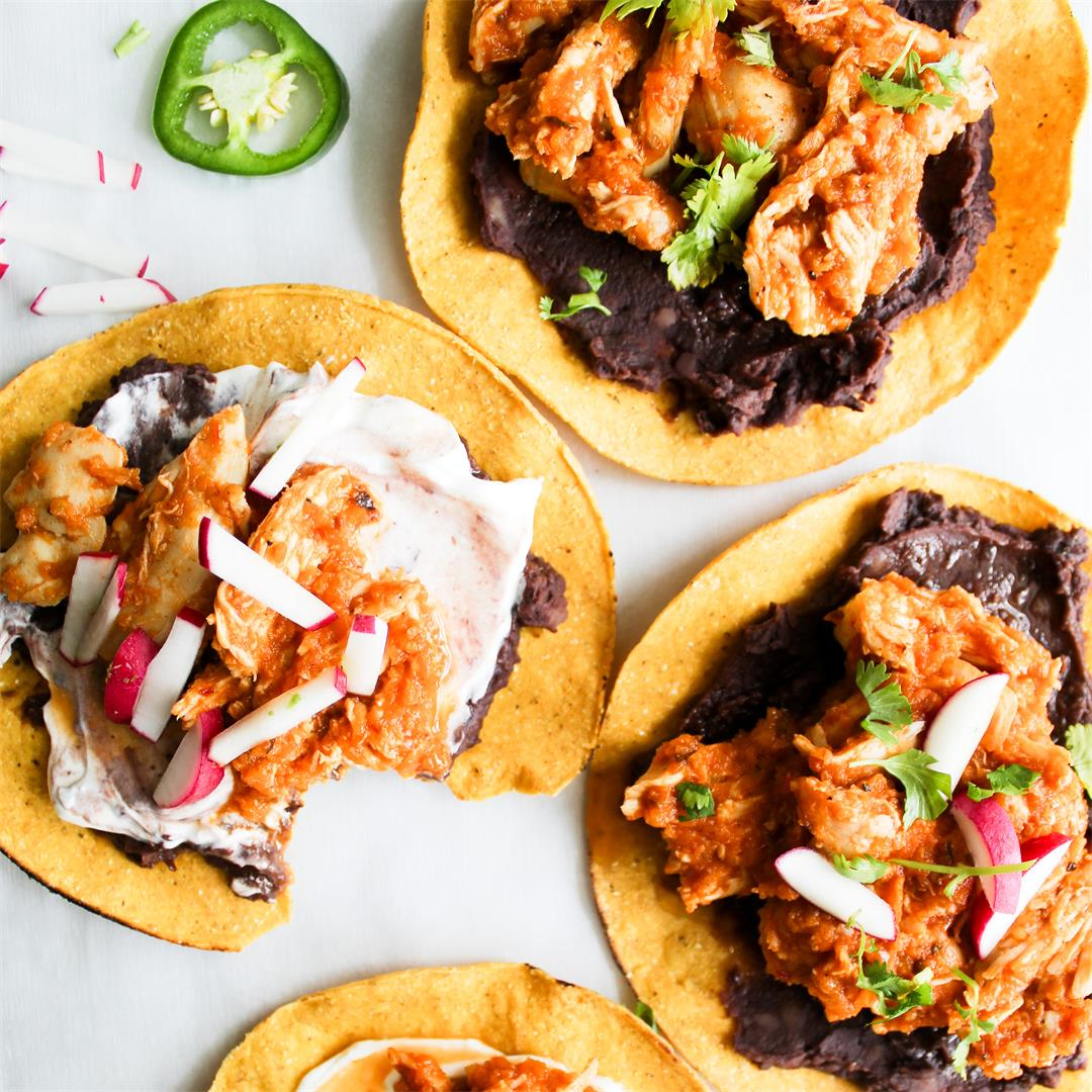 Chicken Tinga Tostadas - easy and delish weeknight meal!