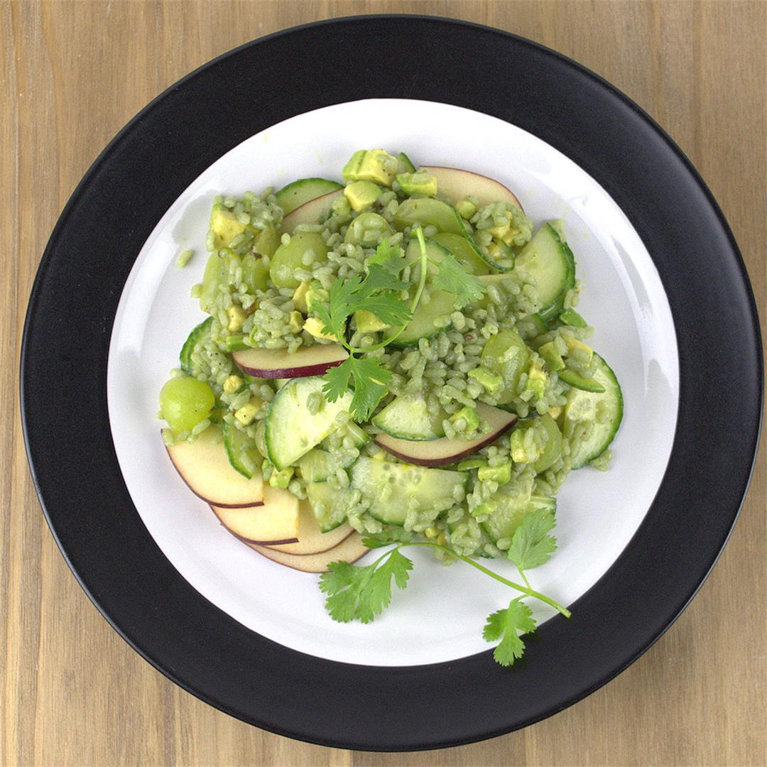 Green Rice Salad with Avocado, Grapes and Cucumber