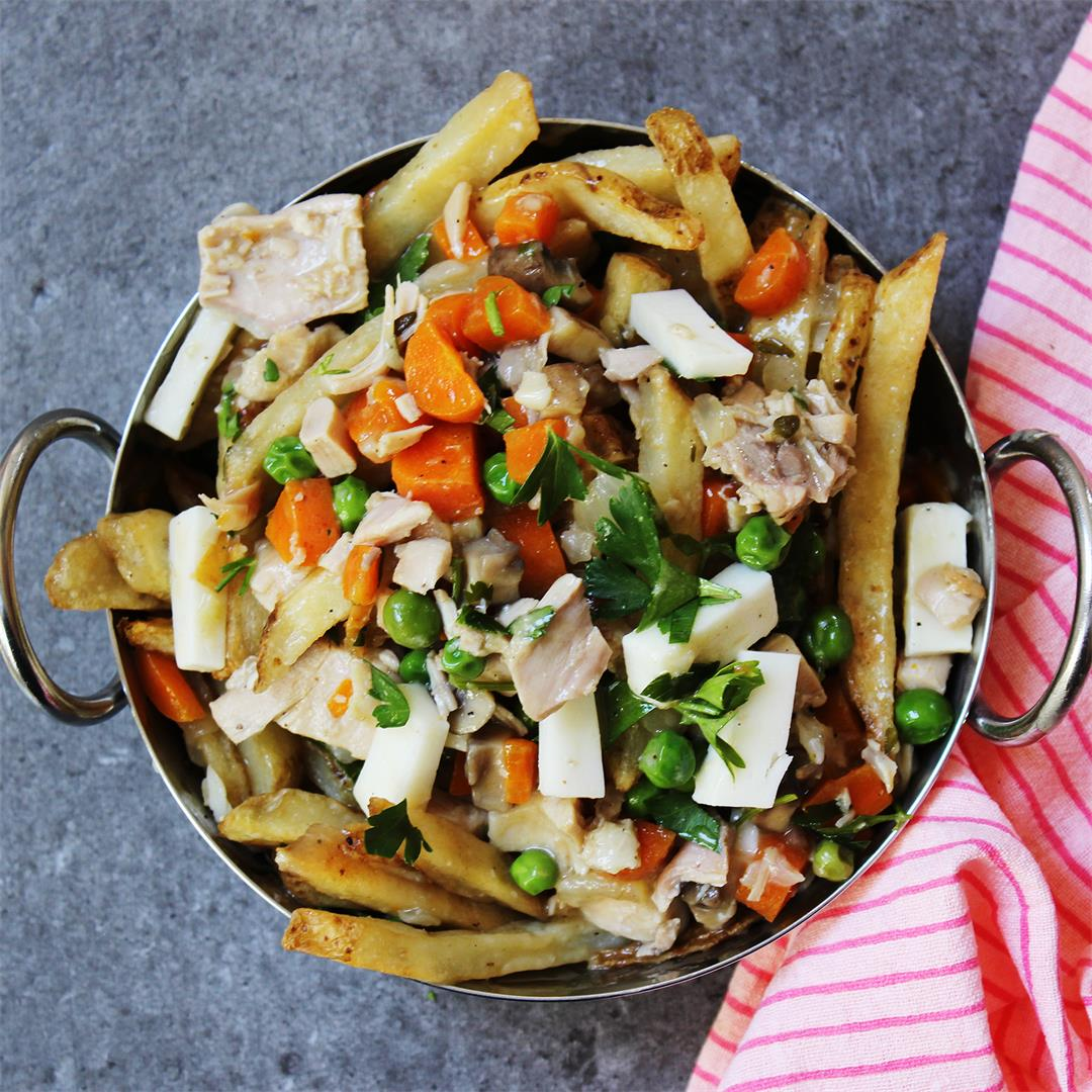 Chicken Pot Pie Poutine Fries