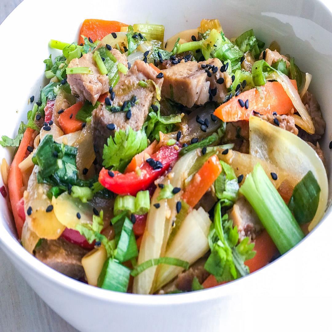 Udon Noodle Pork Baby Back Stir Fry