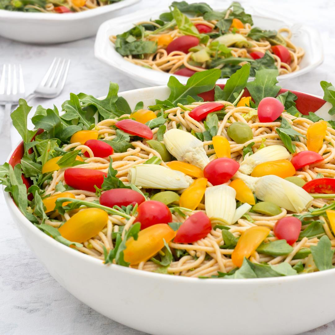 Castelvetrano Olive, Tomato & Noodle Salad (Oil-free & Vegan)