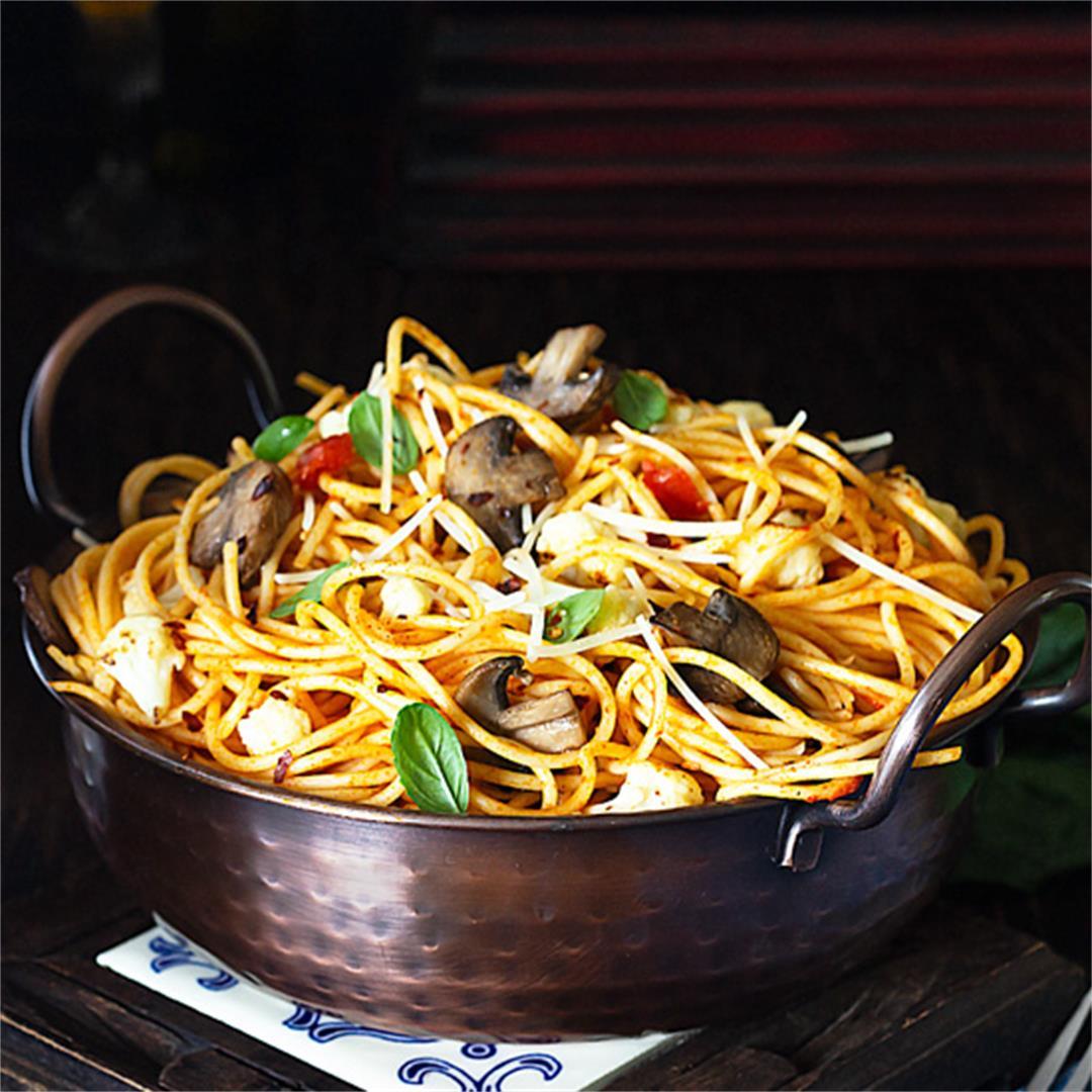 Caramelized Cauliflower and Mushroom Spaghetti