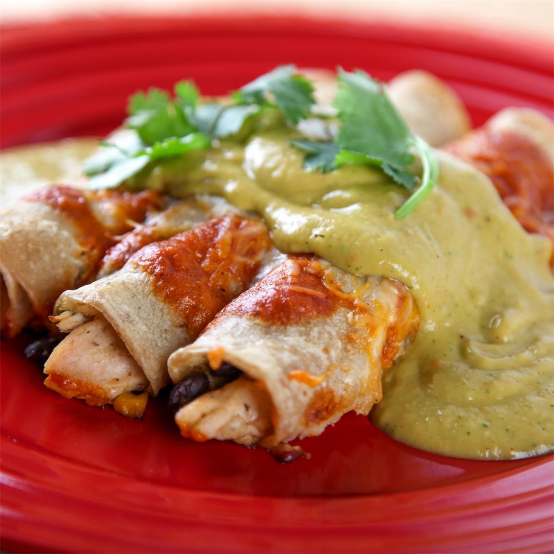 Southwest Enchiladas with Avocado Sauce