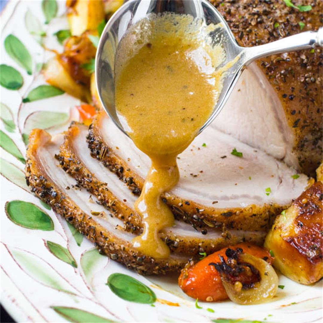 Herb Crusted Pork Loin with Pan Gravy
