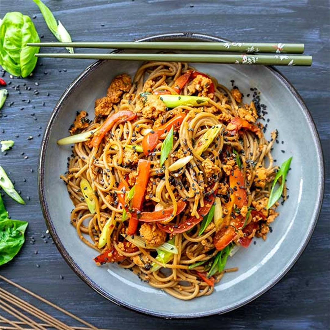 Monday Night Spicy Soba Noodles (Gluten-Free & Vegan Option)