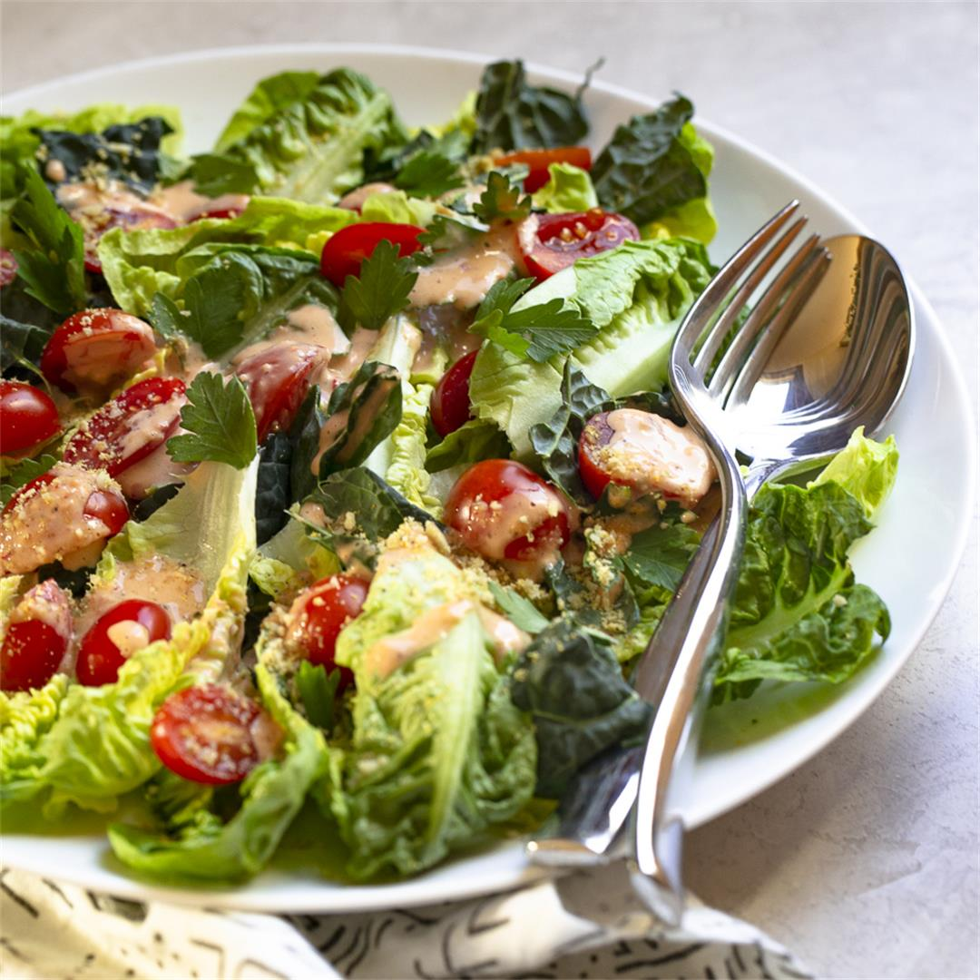 Spicy Caesar Dressing + Salad - paleo, whole 30 option