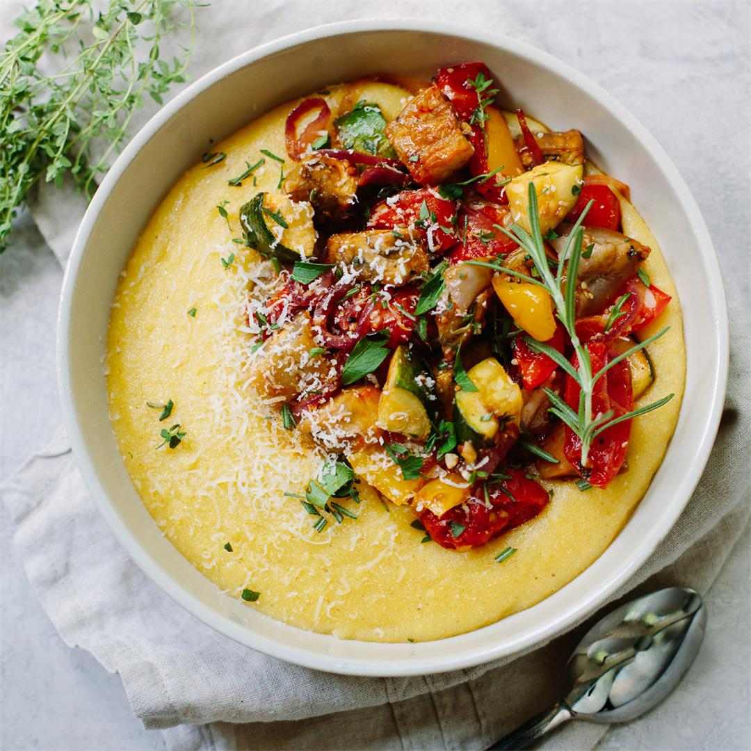 Parmesan Polenta with Balsamic Roasted Vegetables
