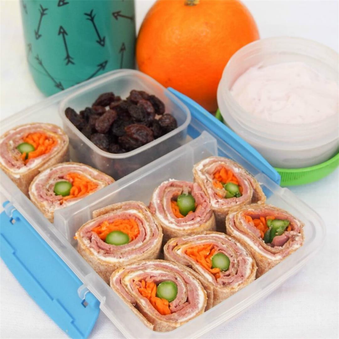 Lunchbox idea: meaty cheesy pinwheels