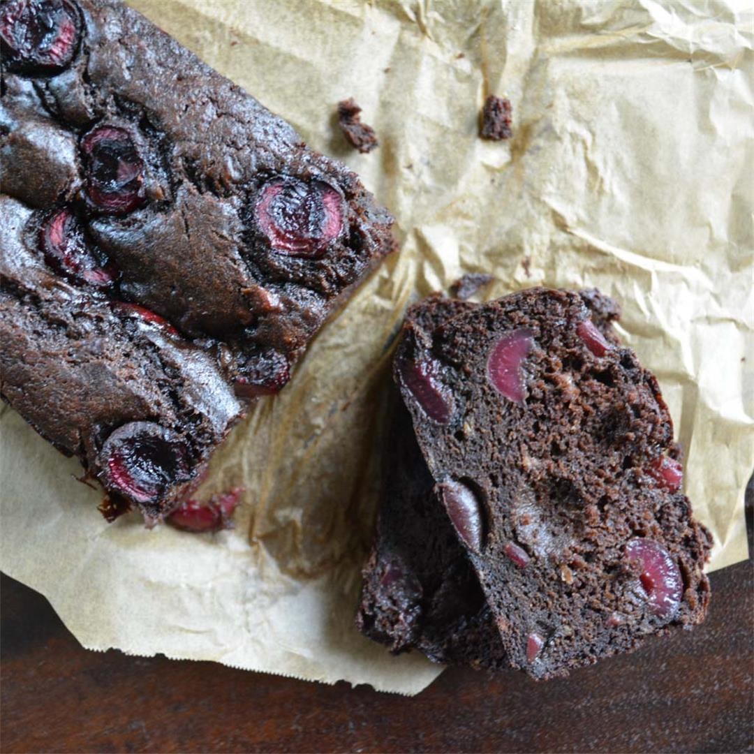 Dark Chocolate Cherry Banana Bread - both decadent & light!