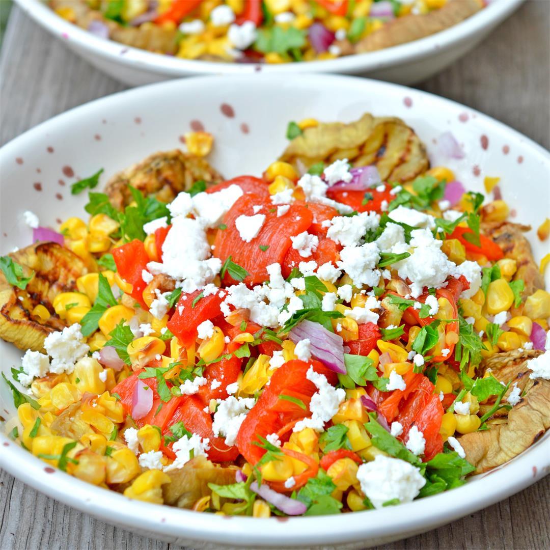 Grilled Eggplant & Corn Salad