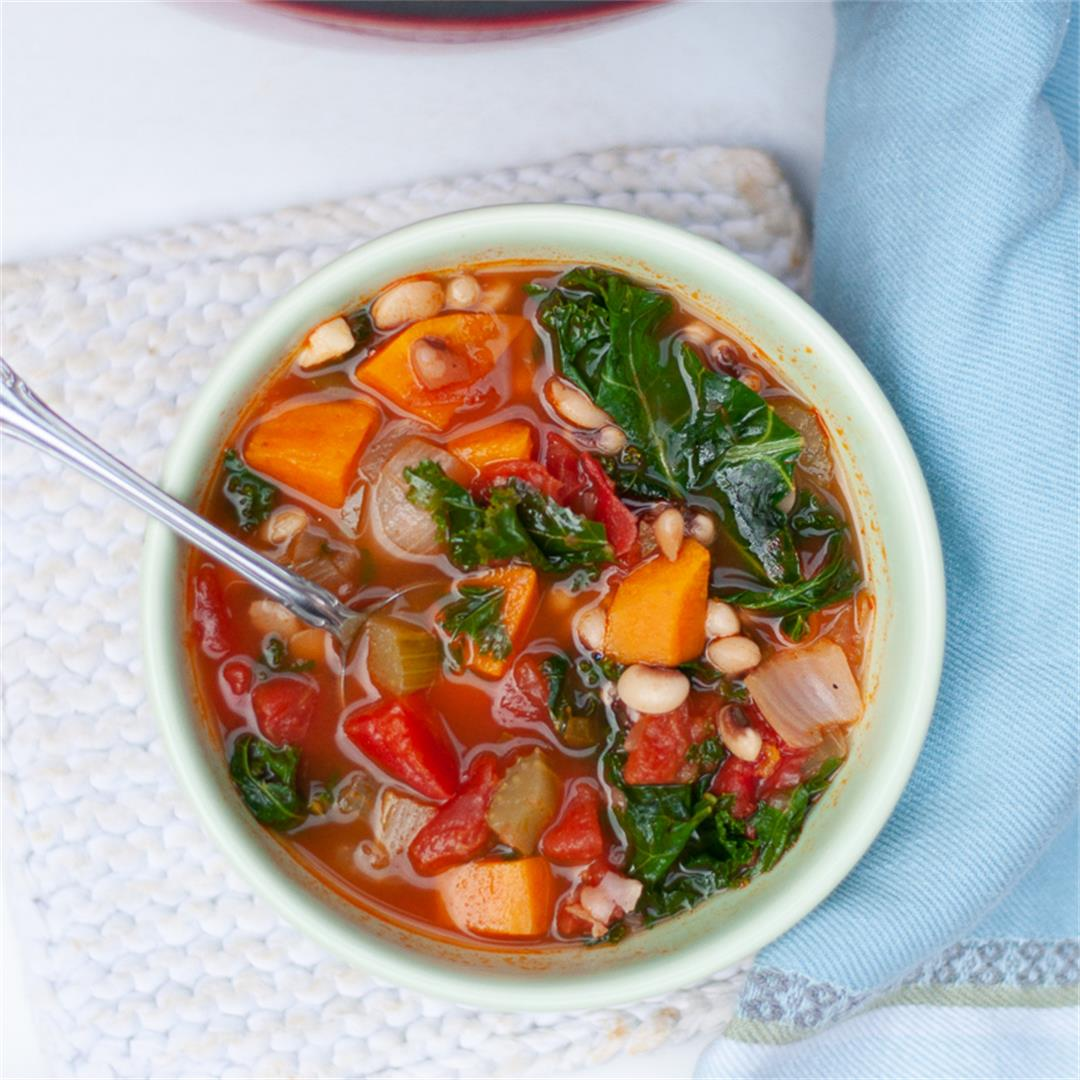 Vegan Black-Eyed Pea Soup with Sweet Potatoes and Kale