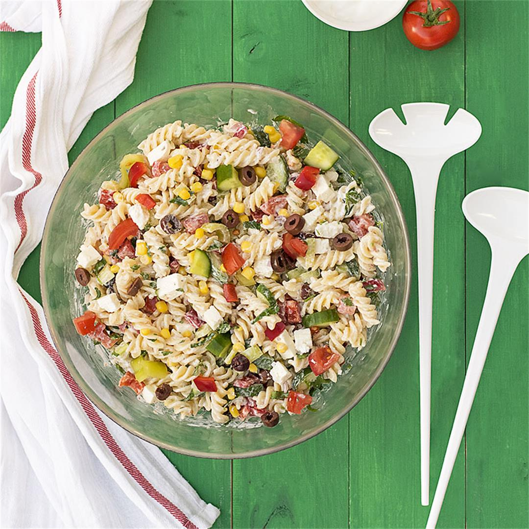 Creamy Greek salad pasta recipe