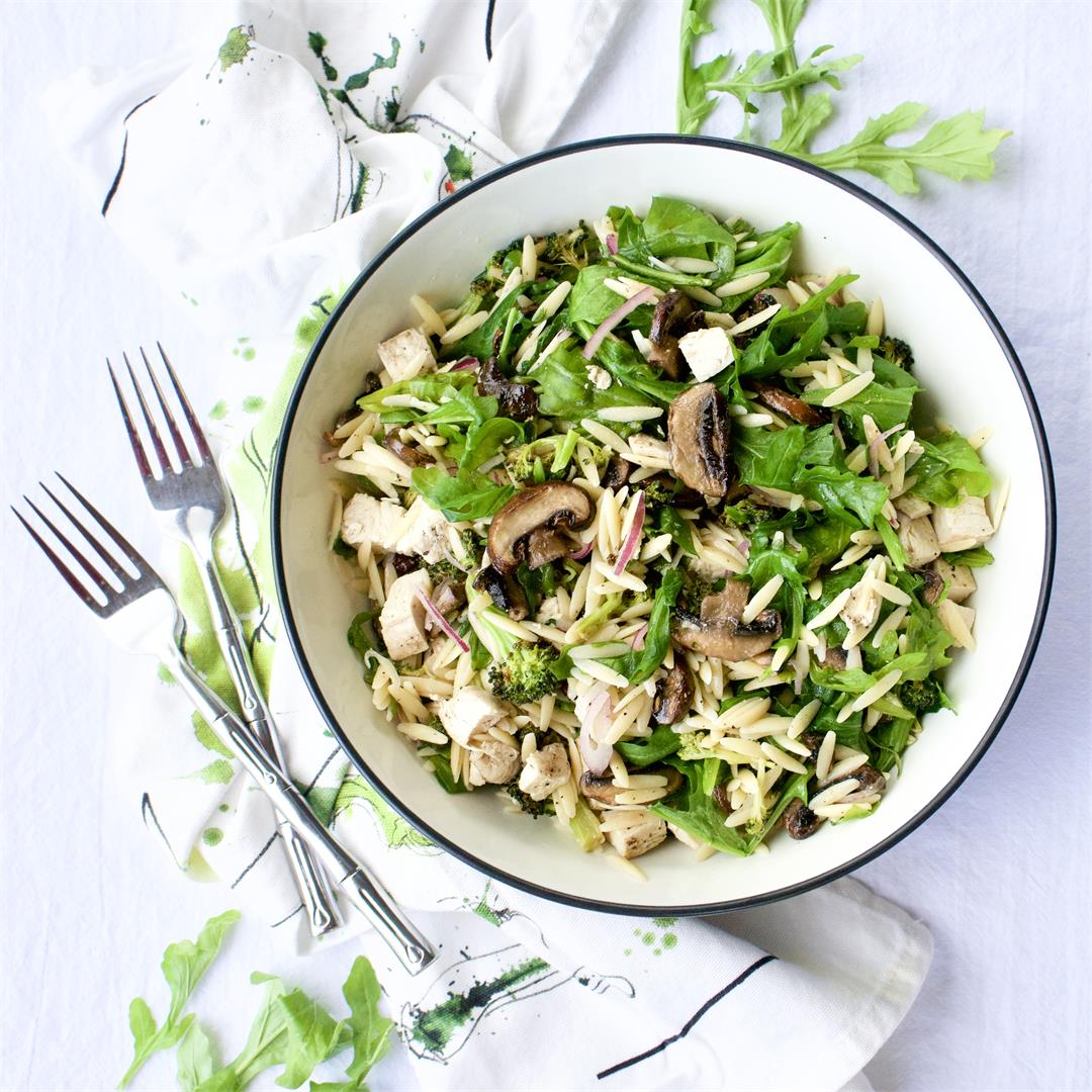 Roasted Mushroom, Arugula and Orzo Salad