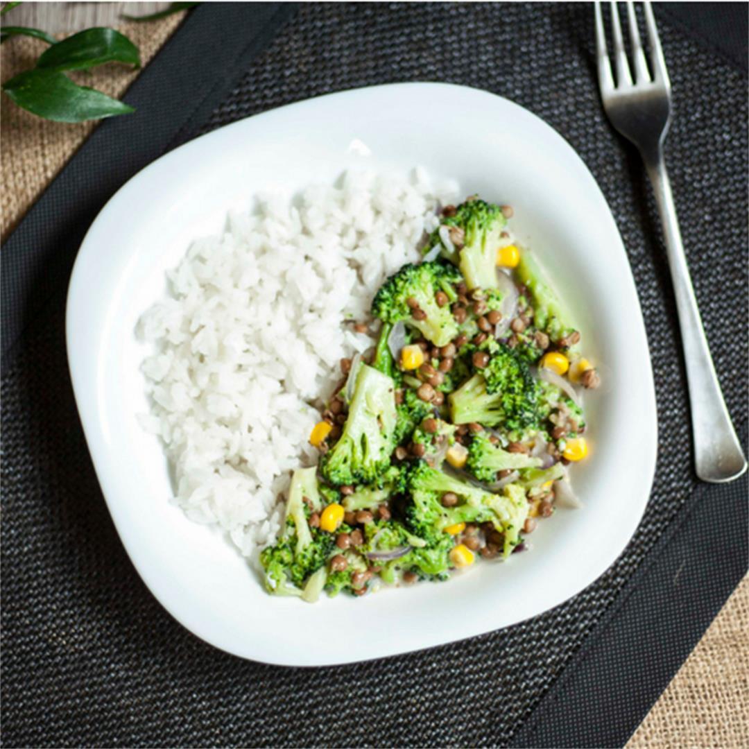 Creamy Broccoli Lentil Stir-fry