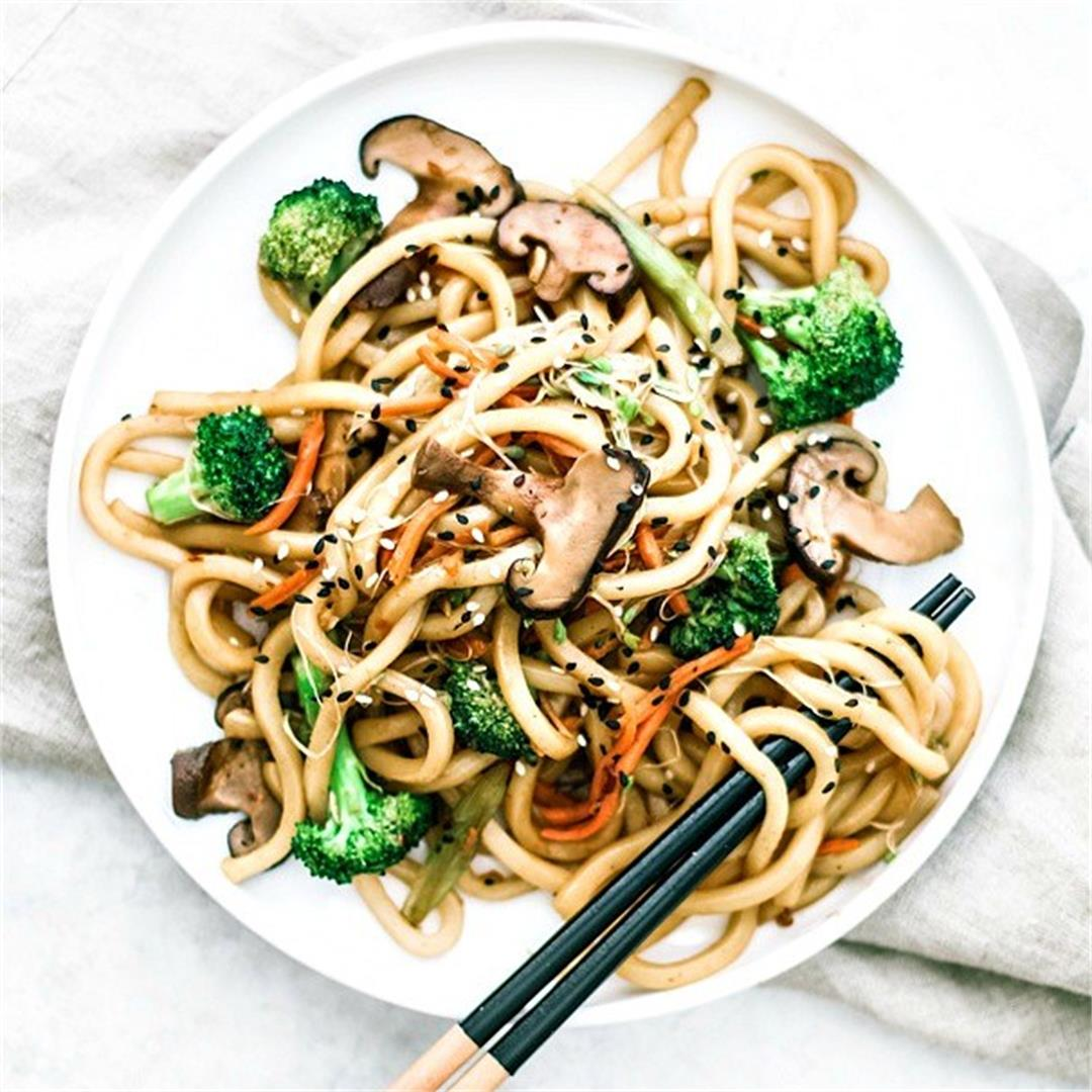 Spicy Udon Noodle Stir Fry with Shiitake Mushrooms