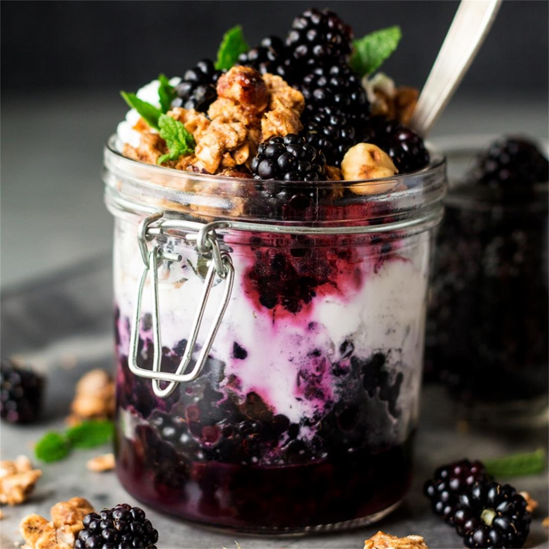Granola pots with blackberries