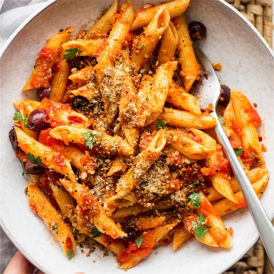 Pasta arrabbiata with nut-free vegan parmesan