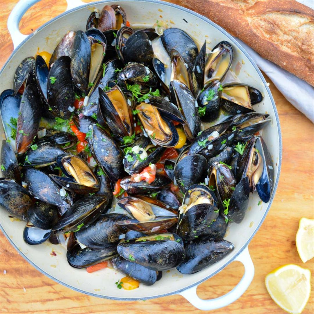 Grilled Mussels à la Marinière - quick, easy, and elegant!