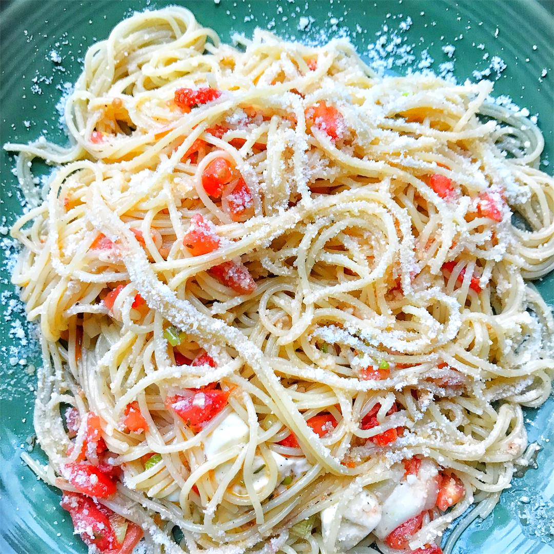 Garden Tomato and Garlic Angel Hair Pasta