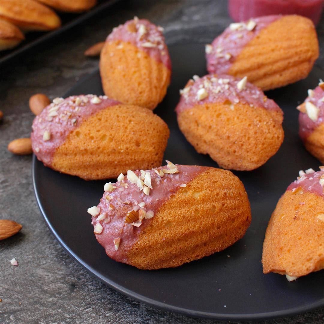 Almond Madeleines with Raspberry Glaze