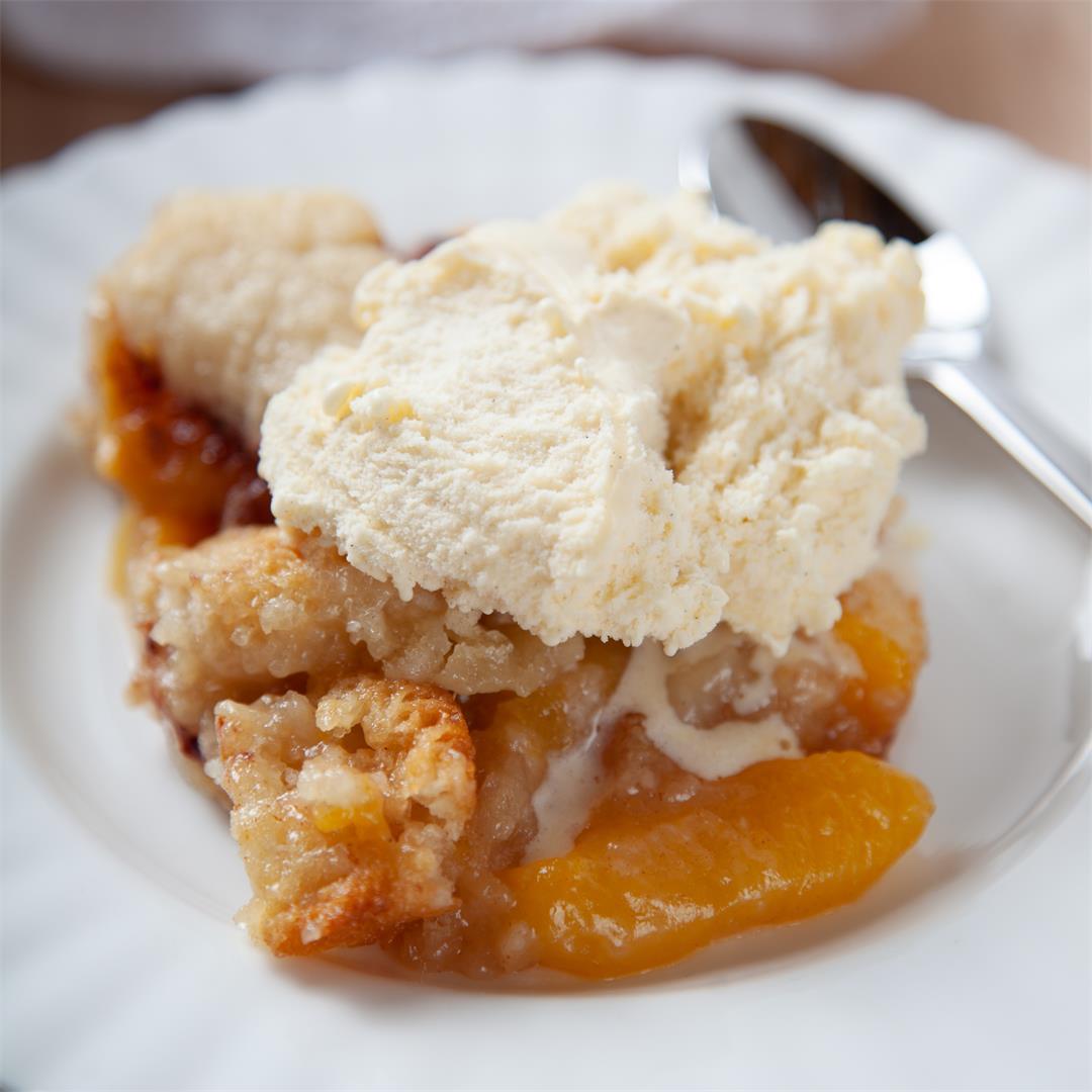 Peach cobbler is the perfect end of summer dessert!