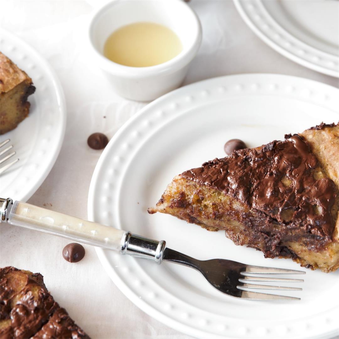Vegan Chocolate Chip Zucchini Banana Bread Pudding
