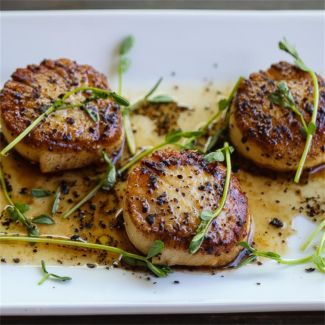 Pan-Seared Scallops W/ Coffee Vinaigrette
