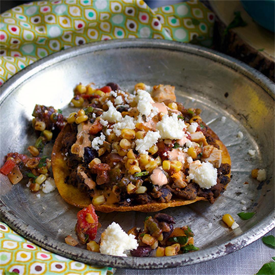 Black Bean Tostadas with Fresh Corn Salsa and Enchilada Cream