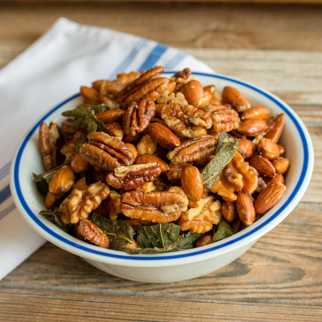 Slow-roasted Nuts with Sage Leaves