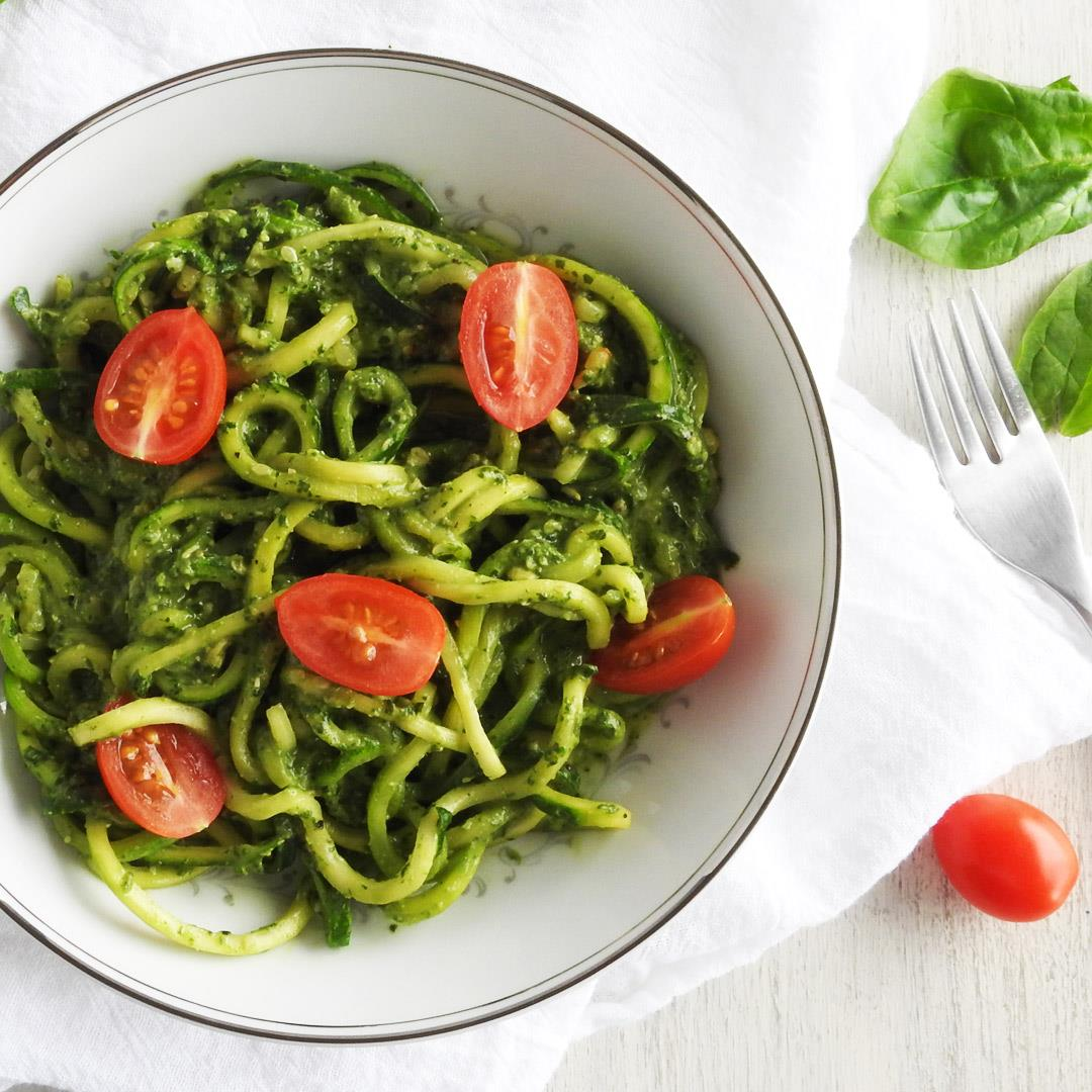 Zoodles with Avocado Spinach Pesto