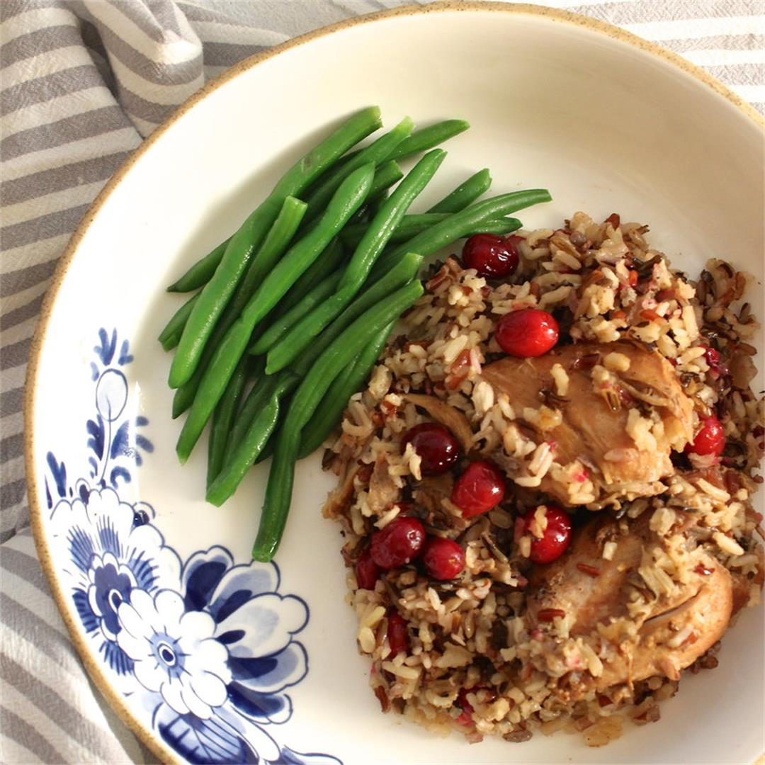 Slow Cooker Chicken with Wild Rice and Cranberries