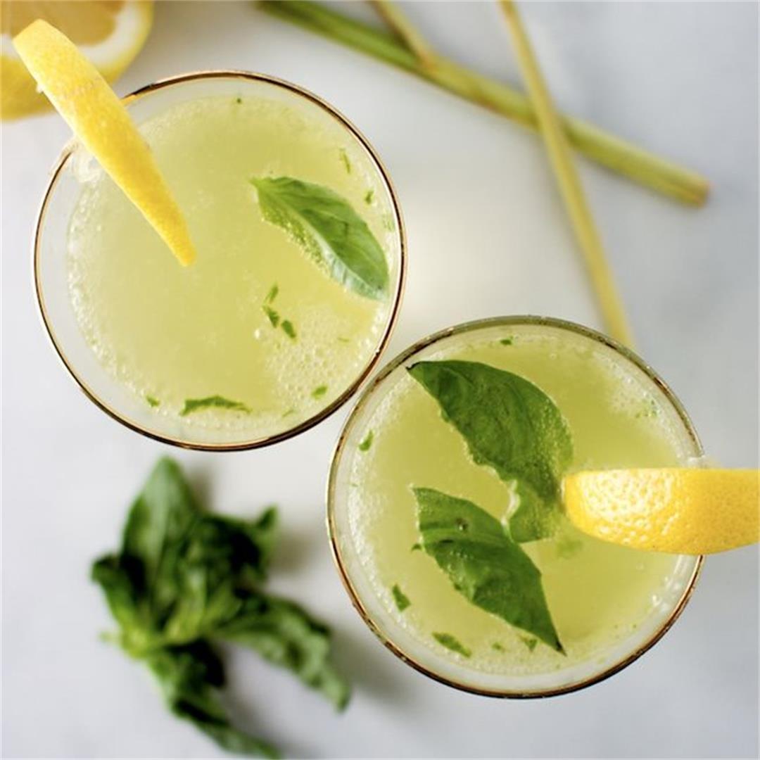 Lemongrass, Basil and Gin Cocktail