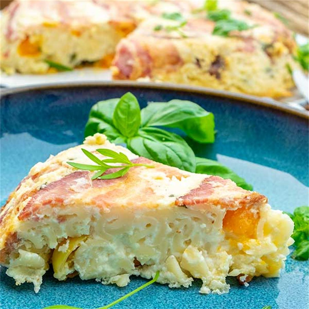 Upside-Down Mac & Cheese Pie With Bacon (Gluten-Free)