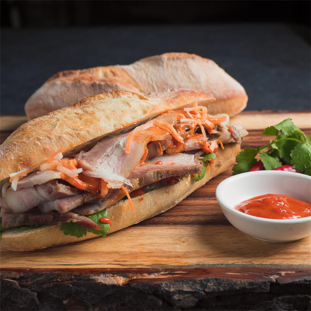 Pork Belly Banh Mi with Gochujang Mayo